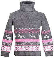 """Теплый вязанный свитер """"Олени"""" для девочки, цвет серый с розовым"""