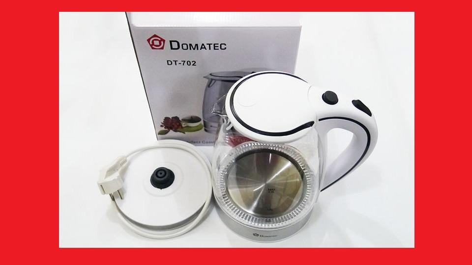 Электрочайник Domotec DT-702 чайник стекло  2200Вт 2Л  LED подсветка (Белый)