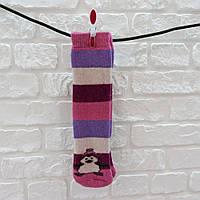 Носки женские высокие из шерсти розово-бордовый
