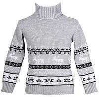 """Теплый вязанный свитер """"Олени"""" для девочки, цвет светло-серый"""
