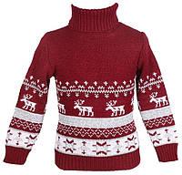 """Теплый вязанный свитер """"Олени"""" для мальчика, цвет бордовый"""