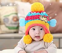 Шапочка детская зимняя вязанная с помпоном для девочки
