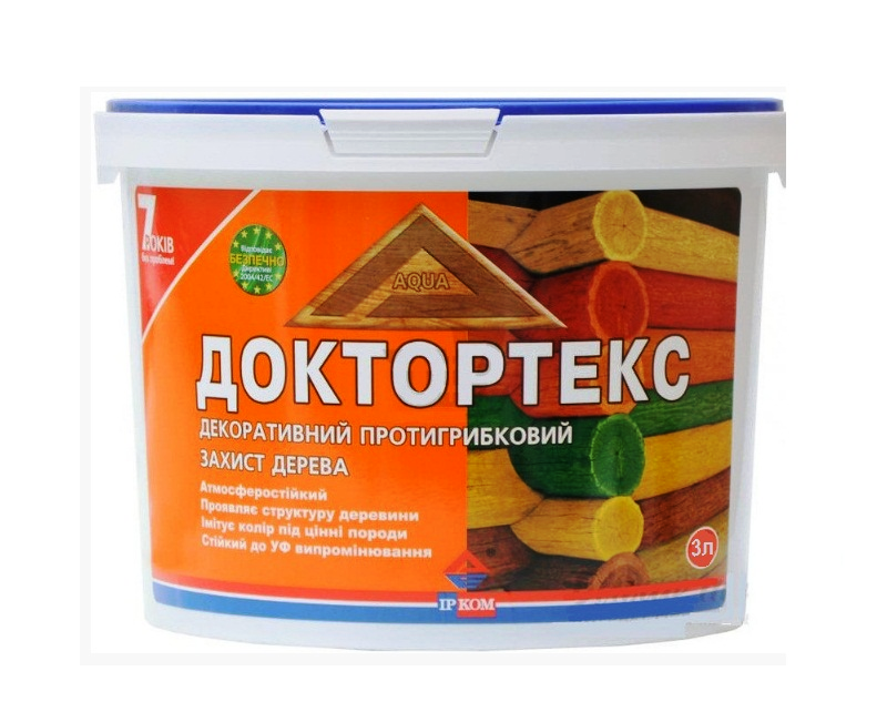 Лазурь-лак антисептический ІРКОМ ДОКТОРТЕКС ІР-013 для древесины бесцветный 3л
