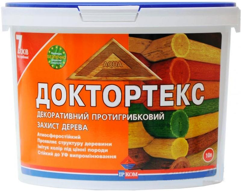 Лазурь-лак антисептический ІРКОМ ДОКТОРТЕКС ІР-013 для древесины бесцветный 10л