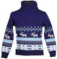 """Теплый вязанный свитер """"Олени"""" для мальчика, цвет синий"""