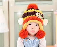Шапочка детская зимняя вязанная с ушками