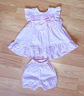 Батистовое платье и шортики для малышки (рост 86)