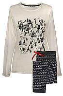 Пижама белая елочки длинный рукав и штаны хлопок р48-50 Muzzy 17-0903 Польша