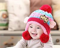 Шапочка детская зимняя вязанная с ушками для девочки