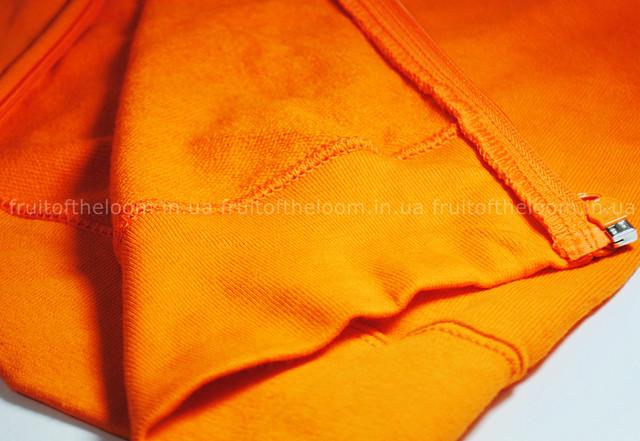 Оранжевая  мужская лёгкая толстовка с капюшоном на замке