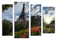 Модульная картина Эйфелева Башня и цветы 3д