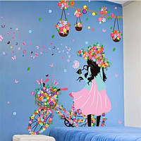 Интерьерная наклейка на стену в детскую, для детского сада Девочка с велосипедом и цветы (03217)