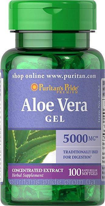 Экстракт алоэ вера, Puritan's Pride Aloe Vera Extract 25 mg 100 Softgels