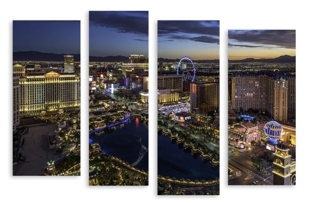 Модульная картина вечерние огни города