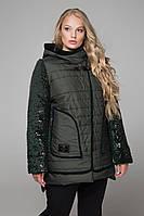 Женская модная зимняя куртка больших размеров с пайетками 603 / размер 52-68 / цвет зеленый