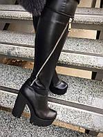 Шикарные сапоги Grandis на каблуке кожа черные