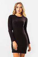 Базовое облегающее черное платье из ангоры с длинным рукавом