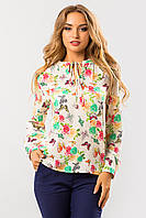 Легкая женская свободная блузка с завязками спереди,летний принт Мятные бабочки