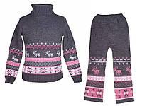 """Теплый вязанный костюм """"Олени"""" (штаны+свитер) для девочки, цвет серый с розовым"""