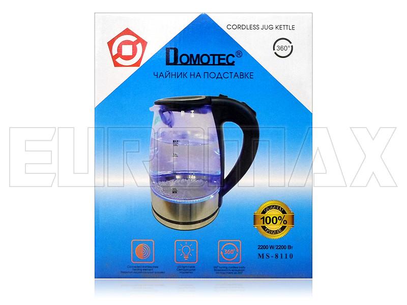 Электрочайник стекло/нерж. 2,0л 2200Вт черный Domotec MS-8110