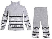 """Теплый вязанный костюм """"Олени"""" (штаны+свитер) для девочки, цвет светло-серый"""