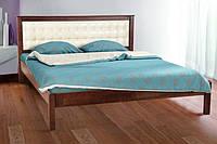 Кровать Карина с мягким изголовьем (темный орех) (Ольха)