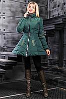 Стильная Куртка под Пояс с Пышной Юбкой и Вышивкой Зеленая М-2XL