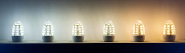 Светодиодные лампочки с разным цветом света, от теплого до холодного. Сравнение