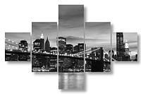 Модульная картина черно-белый мегаполис 3Д