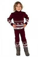 """Теплый вязанный костюм """"Олени"""" (штаны+свитер) для мальчика, цвет бордовый"""