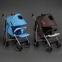 .Коляска прогулочная JOY Q 2005 (2) 2 цвета в ящике /голубой+коричневый/ широкий козырек, футкавер, d колес - 15см, в коробке