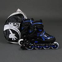""".Ролики 6006 """"L"""" Blue - Best Rollers /размер 39-42/ (6) колёса PU, без света, d=7.6см"""