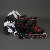 """.Ролики 6006 """"L"""" Red - Best Rollers /размер 39-42/ (6) колёса PU, без света, d=7.6см"""