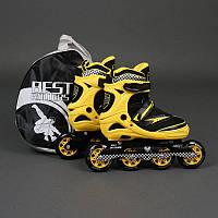 ".Ролики 6014 ""M"" Yellow - Best Rollers /размер 35-38/ (6) колёса PU, без света, d=8.4см"