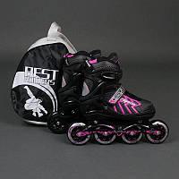 """.Ролики 9015 """"L"""" Pink - Best Rollers /размер 39-42/ (6) колёса PU, без света, d=9см"""