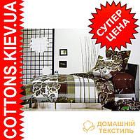 Комплект двуспального евро постельного белья с мако-сатина Пион коричневый