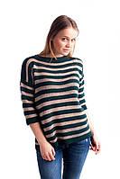 Бутылочный свитер в полоску