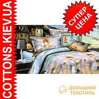 Комплект двуспального евро постельного белья 3D (коттон) Парус