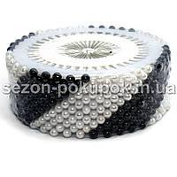 Черно-белый Булавки портновские с шариком, швейные булавки 480 шт цена за 12 пластинок по 40 шт