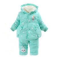 Детский теплый комплект куртка+штаны на меху разные цвета