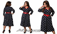 Платье трикотажное в горошек, красный ремешок, разные расцветки, большие размеры