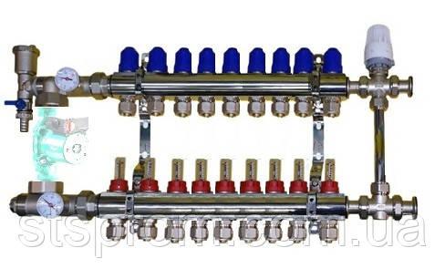 Коллектор для теплого пола в сборе с трехходовым клапаном на 9 контуров