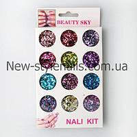 Набор конфети , для дизайна ногтей, 12 шт, цвета в ассортименте, фото 1