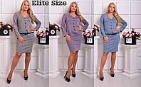 Платье по колено с пуговицами и поясом, фото 1