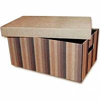 Короб с крышкой Коричневые полоски 32х22х14,5 см