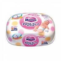 Merries Влажные салфетки для новорожденных 54 шт (пластик-бокс)