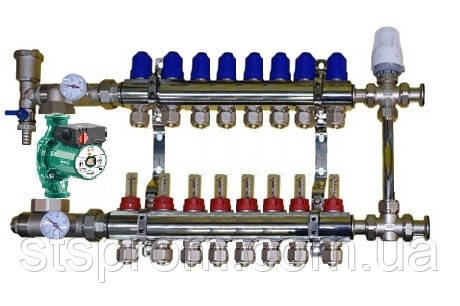 Коллектор для теплого пола в сборе с трехходовым клапаном на 8 контуров