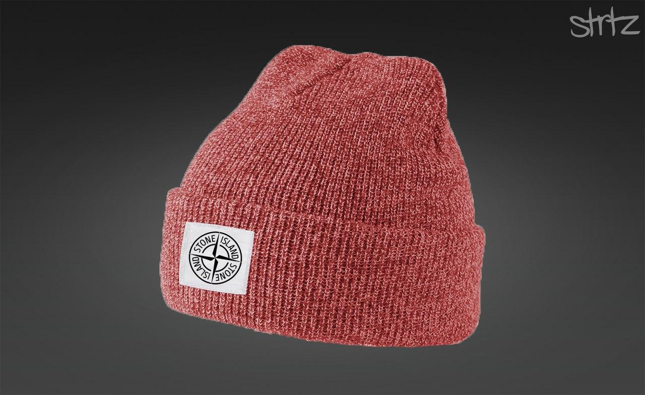 Яркая теплая зимняя шапка Stone Island