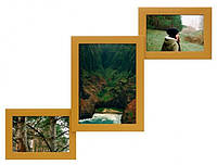 Деревянная мультирамка Лесенка Комбо золото на 3 фото