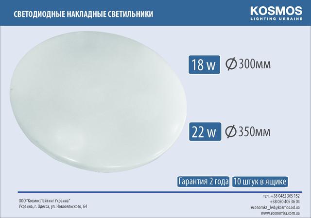 Настенно - потолочный светодиодный накладной светильник 18 Вт